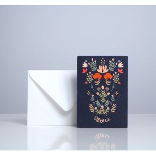"SEASON PAPER - CARTE DOUBLE FOLK ""MERCI"""