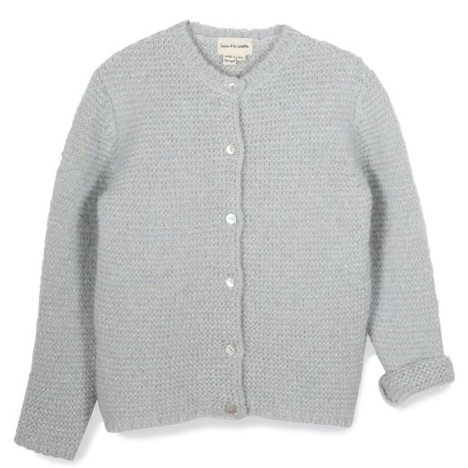 CARDIGAN TRICOT POINT MOUSSE LUREX CIEL