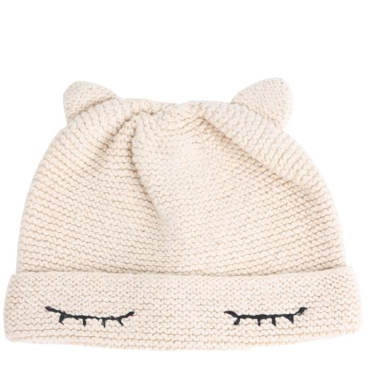 BONNET ÉCRU CHAT FAIT MAIN