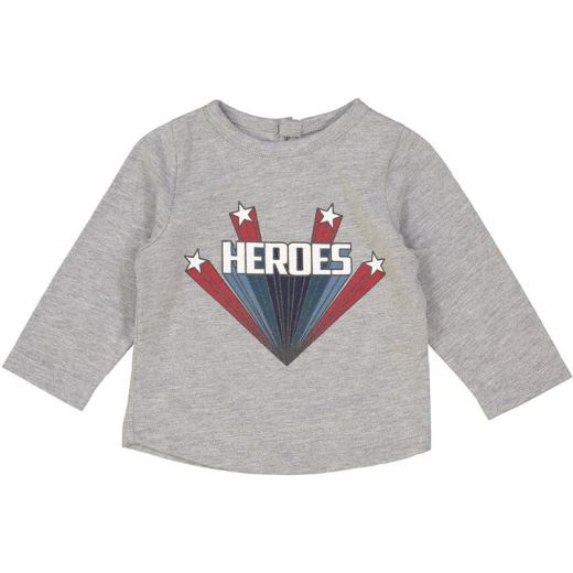 TEE SHIRT JULES - JERSEY GRIS CHINÉ HEROES