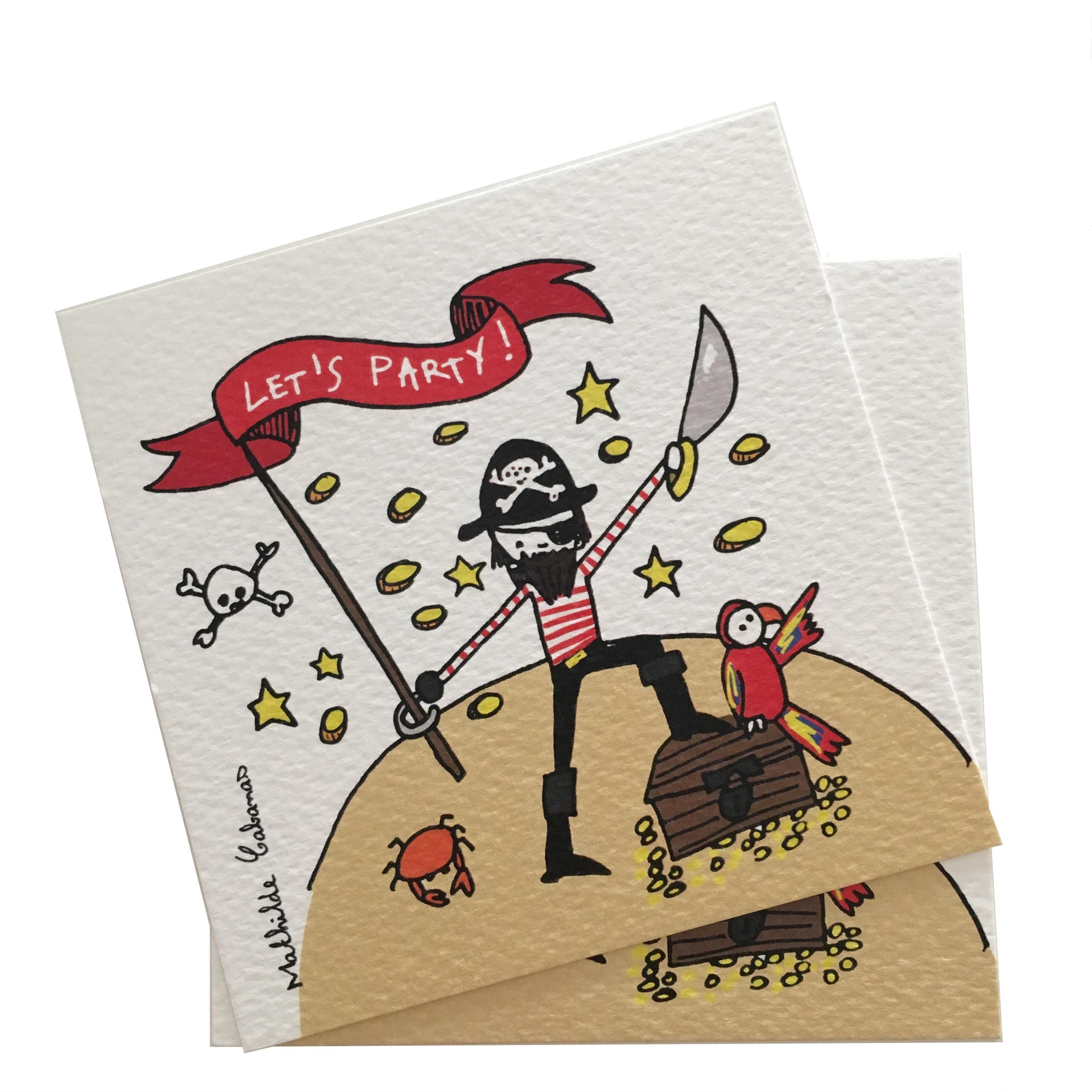 Invitation Anniversaire Pirate X 6 Mathilde Cabanas Papeterie Carton D Invitation J Aime