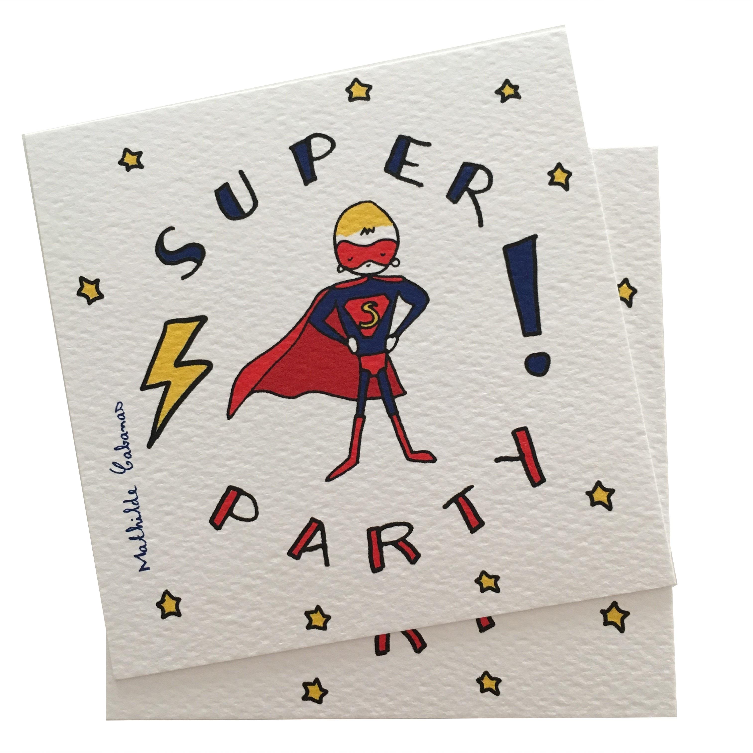 Invitation anniversaire super hero x 6 mathilde cabanas - papeterie carton d'invitation - j'aime
