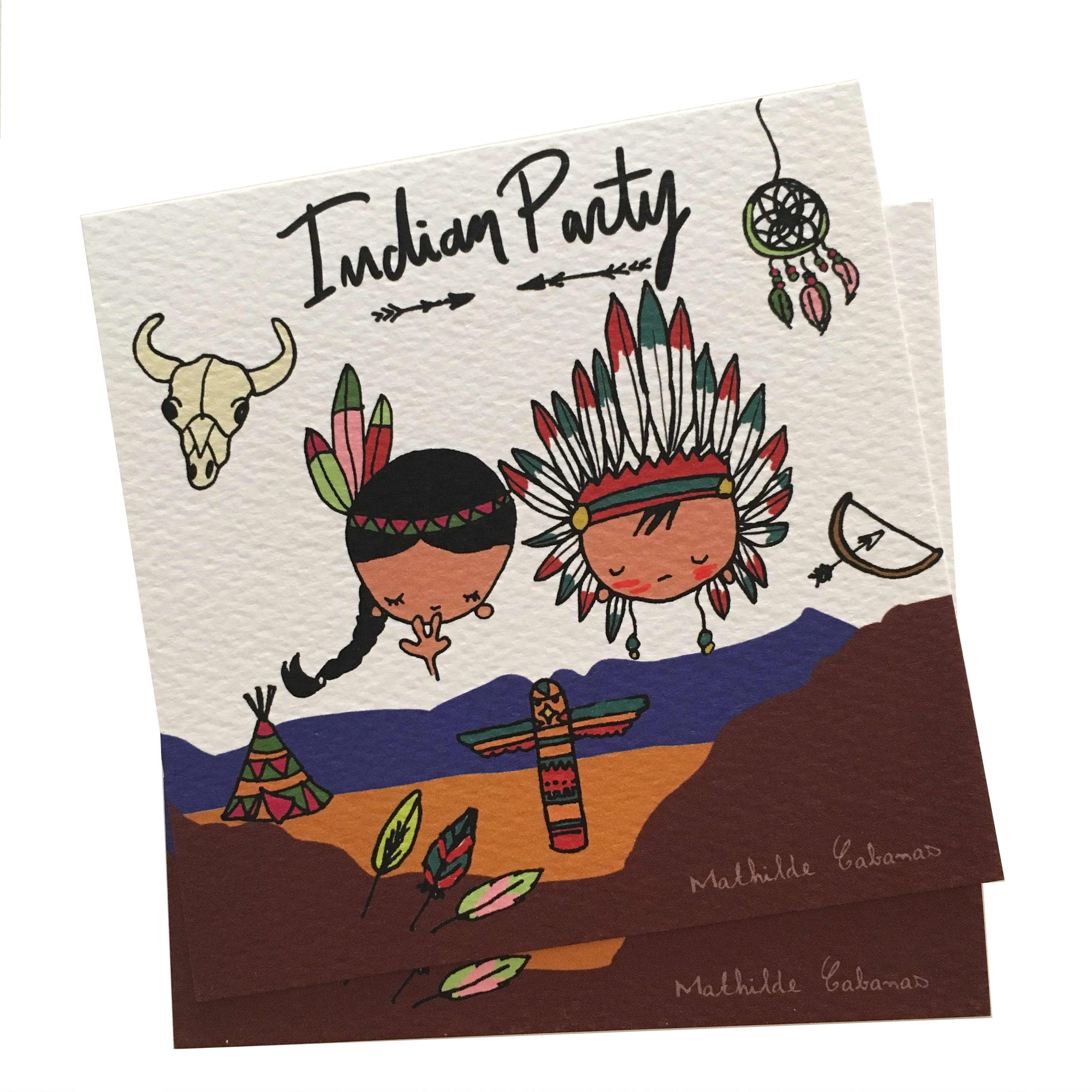 Invitation Anniversaire Indiens X 6 Mathilde Cabanas Papeterie