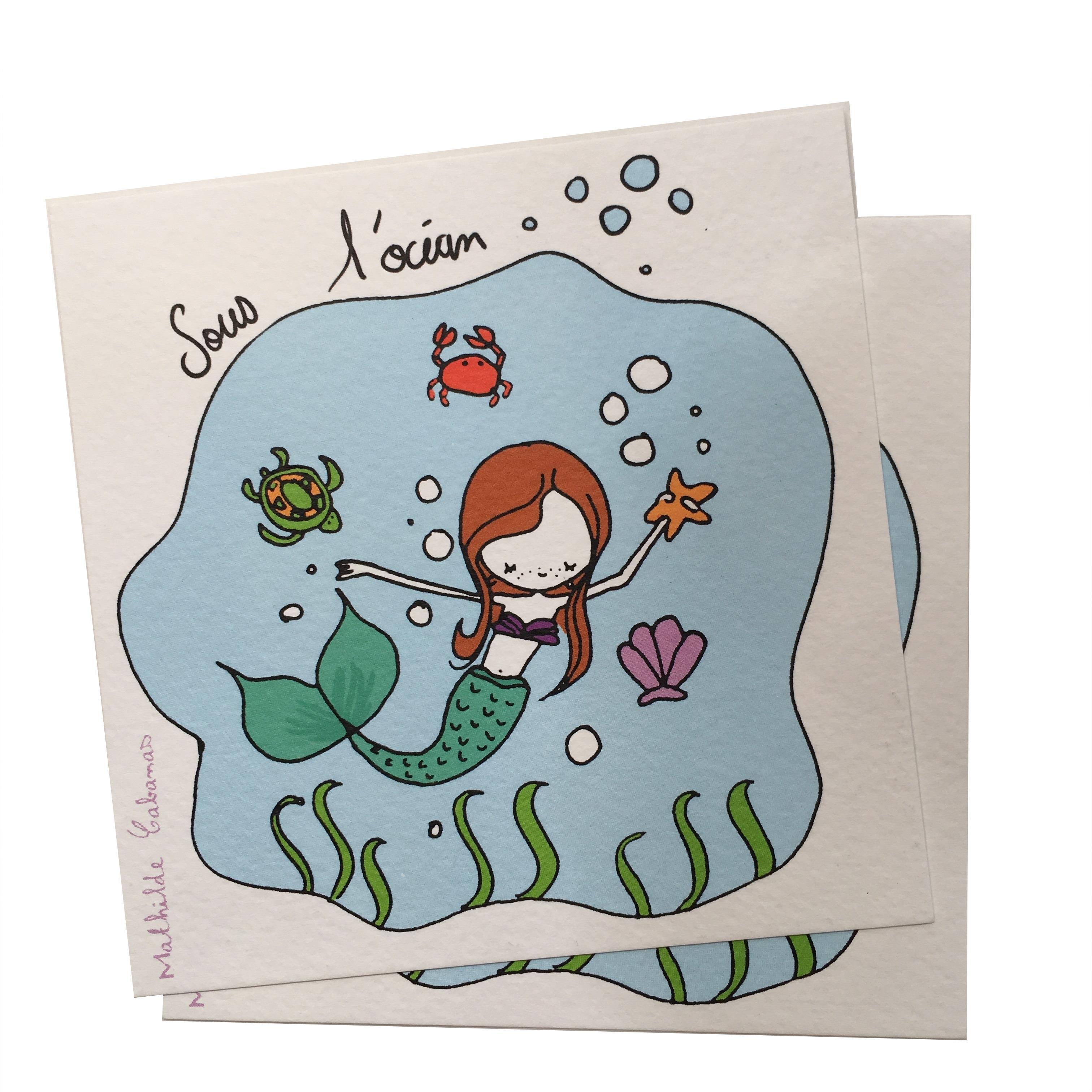 invitation anniversaire sirene x 6 mathilde cabanas - papeterie carton d'invitation - j'aime